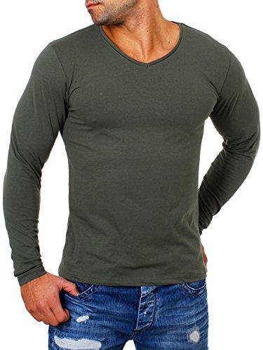 Young & Rich Herren Longsleeve tiefer V-Ausschnitt Langarm Shirt einfarbig Slimfit mit Stretchanteilen Uni Basic deep V-Neck Tee 2001, Grösse:L, Farbe:Militär-Grün