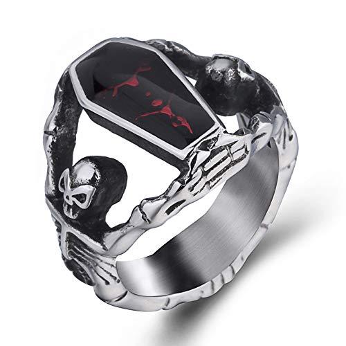 Elfasio Skull Rings for Men Stainless Steel Gothic Vampire Bloody Red Enamel Coffin Bike Jewelry