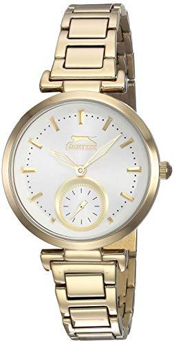 Reloj analógico Slazenger con esfera dorada y plateada para mujer