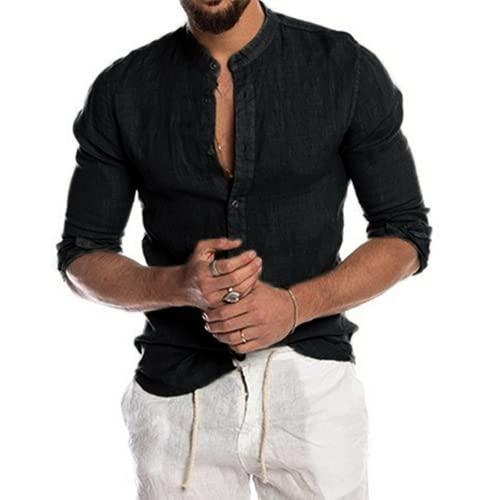 Camiseta de Henley de algodón y lino para hombre, camiseta de playa Casual Hippie de manga larga (L,black)