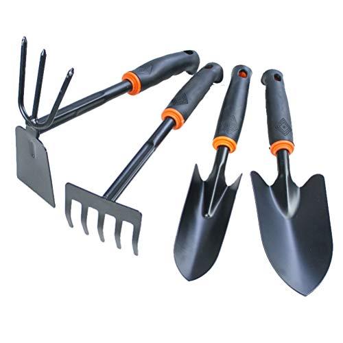 KUANDARMX Très Bien Ensemble d'outils de Jardin Kit d'outils à Main de Jardin 4 pièces Truelle Ergonomique en Aluminium, transplanteur, cultivateur Outils de Jardinage Coffret Cadeau Présent