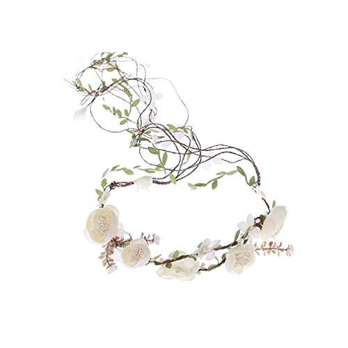Ever Fairy® - Tiaras de corona de vid artificial para decoración de fiesta para bodas y festivales Beige Marfil Taille unique