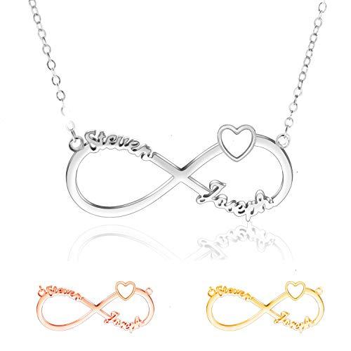 Collar con Nombre Personalizado, Collar Infinito Plata 925 Mejores Amigas Collares, Collares Mujer & Hombres,Collar De Corazón