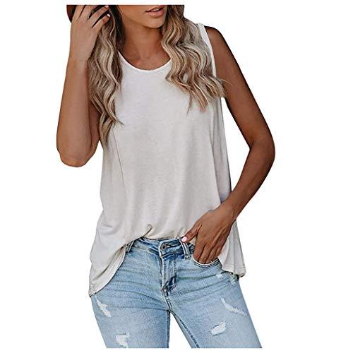 Yowablo Tank Top Débardeur Femme Camisole Blouse Mode Casual Couleur Unie Bouton sans Manches (XL,Blanc)