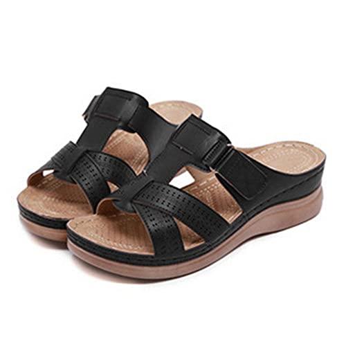 AOQW Zapatillas De Punta Abierta para Mujer Cómodas Sandalias Suaves Premium Ortopédicas De Tacón Bajo Caminando Sandalias De Punta Corrector Almohadas-6_38