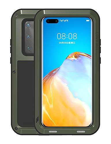FONREST Completo Funda para Huawei P40 Pro 6,58-Pulgada, Love Mei Antichoque Al Aire Libre Híbrido Aluminio Metal Antipolvo Carcasas SIN Vidrio Templado, Apoya de Carga inalámbrica (Ejército Verde)