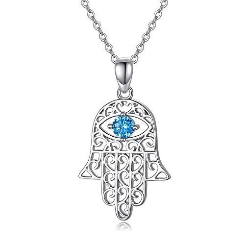 collar de Mujer pequeña joyería Ojo de Fatima Mano de Plata Malos Hombres y Mujeres de Regalo de San Valentín Que Ella circonio cúbico