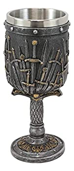 Ebros Medieval Iron Throne Of Valyrian Steel Swords Armory Wine Goblet Chalice With Dragon Scales Sword Handle Stem 12oz Dungeons And Dragons Elixir Of Life GOT Themed Accessory Party Prop Decor