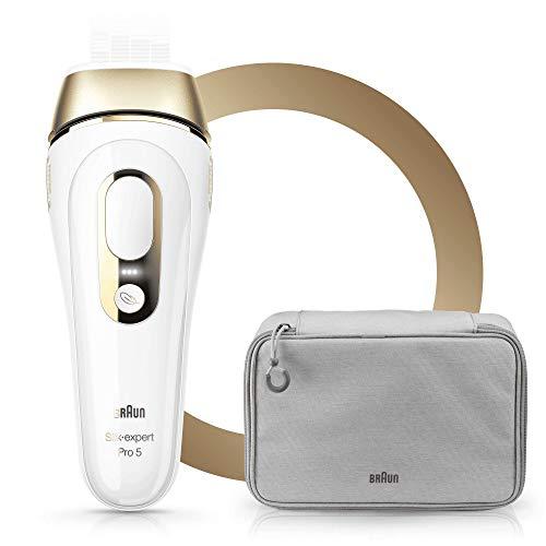 Braun Silk·Expert Pro 5 PL5014 Épilateur Lumière Pulsée Intense IPL Dernière Génération, Épilation Visible, Blanc/Doré