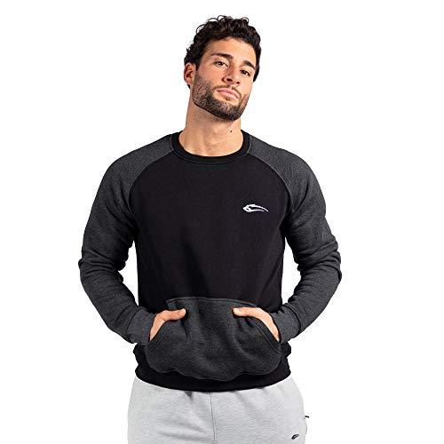 SMILODOX Herren Sweatshirt Mood Slim Fit Longsleeve Sport Fitness Gym Training Langarmshirt, Farbe:Schwarz, Größe:XXL