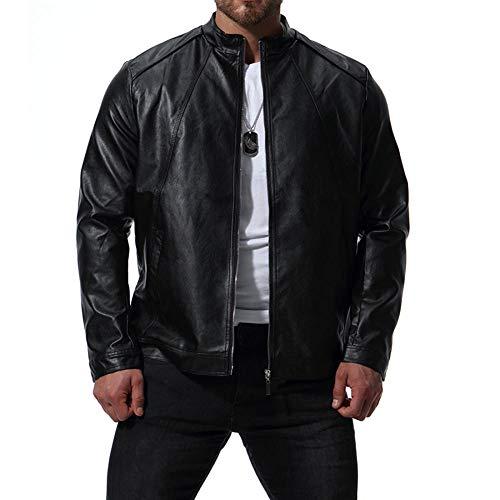 Preisvergleich Produktbild WEDGFG 2019 Herbst Neue Außenhandel Europa und den Vereinigten Staaten Kragen Herren Motorrad Leder gewaschen PU Lederjacke XB041-30 schwarz_4XL