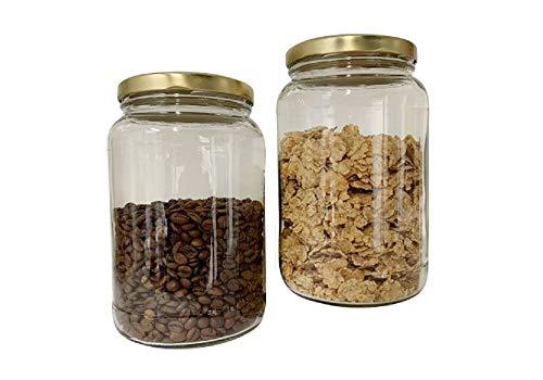 mikken Einmachglas 2er Set 1,7 Liter mit Schraubverschluss, Vorratsglas, Glasdose inkl. Beschriftungsetiketten (Gold)