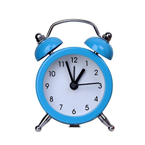Xuebai portátil Lindo Mini Reloj Despertador de batería Redonda Mesa de Escritorio Relojes de Noche decoración Reloj Despertador Azul