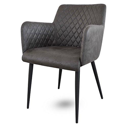 Damiware Rose Stuhl | Design Wohnzimmerstuhl Esszimmerstuhle Bürostuhl mit Leder-Optik Stoffbezug | (Stone)