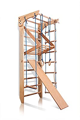 "Wood Stall Bar, Wooden Swedish Ladder, Wall Bars Kids, Kinder-3-240 - Certificate Safe, Home Gym Gymnastic, Climbing Kids, Indoor Children Playground 94""x31.5"""