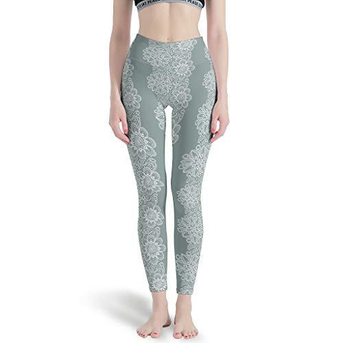 O2ECH-8 Mandala Damen Stil Capri Leggings Hot Stretch Und Hohe Taille Muster Pflanze Blume Hose Stretch Workout Leg Damen - Muster White XL