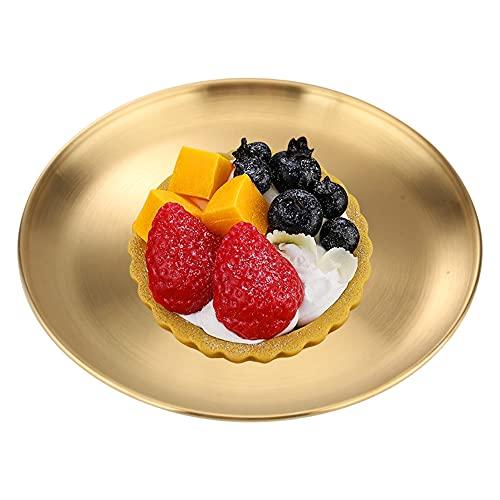 Vassoio Dorato Vassoio Rotondo in Acciaio Inox Vassoio di Gioielli Vassoi di Frutta del Tè Vassoi da Portata Vassoio Decorativo Piatto per Riporre, Pi