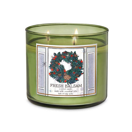 White Barn Bath & Body Works 3-Wick Scented Candle in Fresh Balsam (Wreath Design)