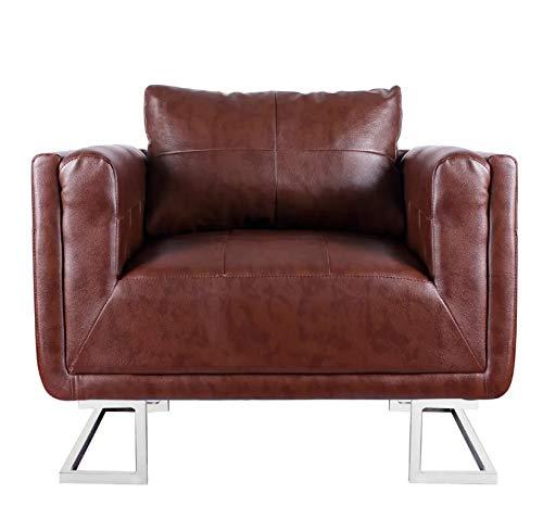 Pissente Poltrone Relax et Chaise Longue,Seggiola Cubo in Similpelle Marrone Cromo+Legno Poltrona 85,5 x 63 x 74 cm Marrone