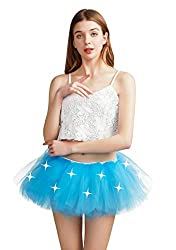 Blue With Led Lights Tutu 5 Layered Party Dance Skirt