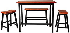 "Your purchase includes One Crown Mark Tyler 4-Piece Counter Height Table Set (one table, two stools and one bench) Dimensions: Table – 44"" L x 24"" W x 36"" H 