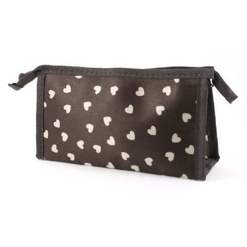 DealMux Lady Off White Prints Coração de Higiene Pessoal Cosmetic Bag maleta de maquiagem Bolsa Dark Brown