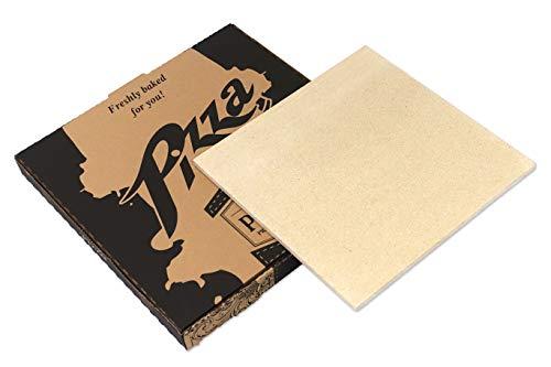 Piedra de cordierita para auténtica pizza italiana casera. Dimensiones: 33x33 cm, 8 mm de grosor. Calidad Smokey Olive Wood.