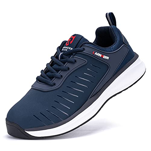 LARNMERN PLUS Sneaker Uomo Impermeabile Antiscivolo Sportive Scarpe Blu 43