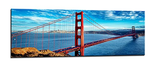 bestpricepictures 120 x 40 cm Bild auf Leinwand San Francisco golden Gate Bridge USA 5737-SCT deutsche Marke und Lager - Das Bild Wandbild BZW. Kunstdruck ist fertig gerahmt.