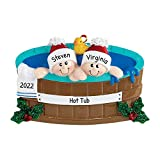 Personalized Hot Tub Heaven Family of 2 Christmas Tree Ornament 2021 - Happy Together Winter Wood Pool Home Away Bath Towel Duck Birthday Friend Child Holiday Tradition Kid Year - Free Customization