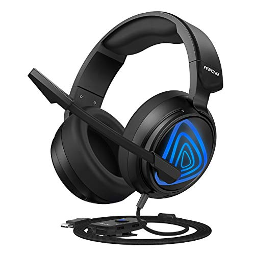 Mpow PC Gaming Headset (USB Edition), with Bass Boost Surround Sound, 50mm Drivers, Noise-Cancelling Mic, in-line Control, Zero Fatigue Earpads, LED Gaming Headphone for Computer, PS4