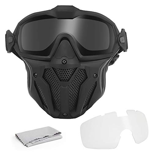 DETECH Airsoft Paintball máscara táctica desmontable gafas con sistema de ventilador antivaho protección integral transpirable CS War-Game Combat