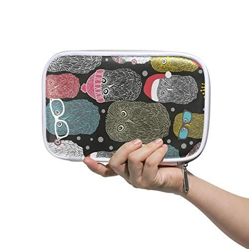 Deziro - Sac de rangement multifonction avec motif chouettes polaires dans un chapeau - Sac de rangement pour pinceaux de maquillage - Sac de maquillage avec intérieur en maille pour le voyage