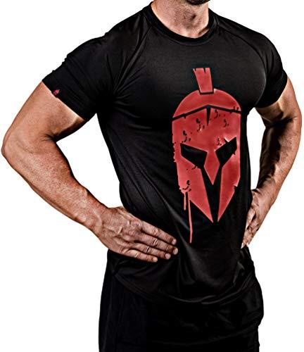 Satire Gym Fitness T-Shirt Herren - Funktionelle Sport Bekleidung mit Sparta Motiv - Geeignet Für Workout, Training & Spartaner - Slim Fit (Black - Spartan Front Head, L)