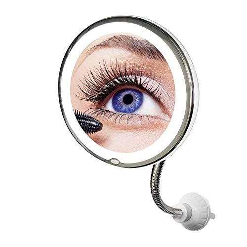 Genius My Flexible Mirror Spiegel   Kosmetikspiegel mit LED Leuchtring   Schminkspiegel mit Einer zehnfachen Vergrößerung inkl. Beleuchtung