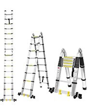 FIXKIT Telescopische ladder 5 M aluminium vouwladder uitschuifbare ladder telescopisch ontwerp 150 kg laadvermogen