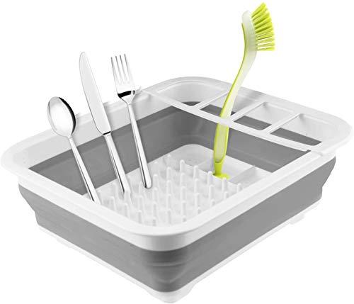 Mantraraj - Escurreplatos plegable y duradero, ahorra espacio para viajes, cocinas pequeñas, caravanas, barcos, campamentos, tiendas de campaña, escurreplatos higiénicos y prácticos