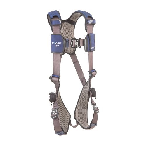 3M DBI-SALA ExoFit NEX 1113004 Vest Style Harness, Aluminum Back D-Ring, Locking Quick Connect Buckles, Medium, Blue/Gray