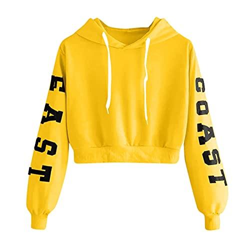 ZZTD Sudadera con capucha multicolor para mujer con letras y manga Farseeing, sudadera con capucha y manga prospicient Top con capucha Kawaii Fashion Warm Hoodie (color: amarillo, tamaño: mediano)