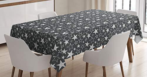 ABAKUHAUS Estrella Mantele, Formas geométricas en Escala de Grises, Resistente al Agua Lavable Colores No Destiñen Personalizado, 140 x 200 cm, Gris carbón Negro