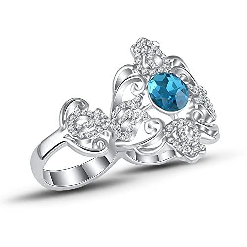 Anillo Bohemio Hueco de Diamantes de Piedras Preciosas Anillo Doble Anillo de Compromiso Anillo de Dedo índice Retro Accesorios de joyería Regalo