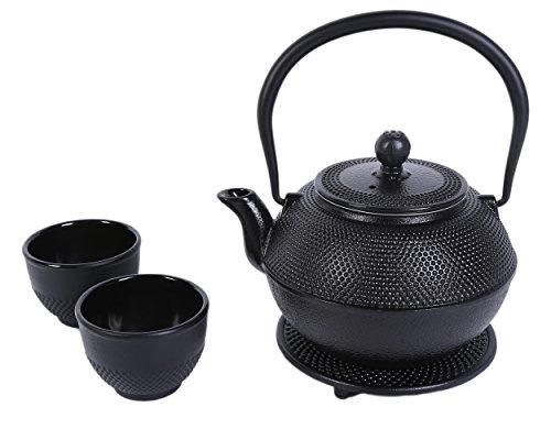 Juvale Black Cast Iron Tea Kettle Set for 2 - Contemporary Dutch Hobnail Design with Trivet, Two Cups - 1200 mL