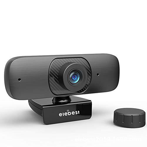 HXCH Cámara web con micrófono, 1080P UHD de 2 millones de autoenfoque Web Cam instalación sin unidad, Plug and Play, rotación de 360°, para PC de escritorio y portátil, videollamadas, conferencias