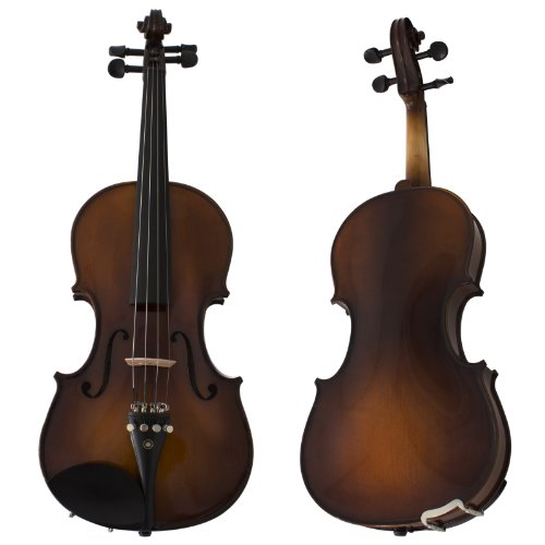 Cecilio CVN-EAV Ebony Fitted Solidwood Violin in Varnish Antique with Deluxe Oblong Hard Case Size 4/4 (Full Size)