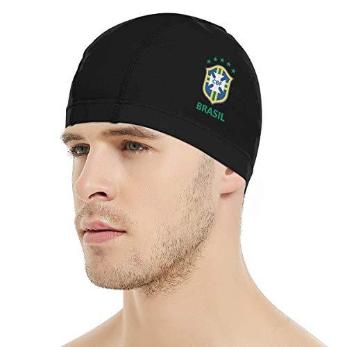 Uosliks CBF-Brasil - Cuffia da nuoto con logo 3D, design ergonomico e 3D, per donne e uomini, capelli corti