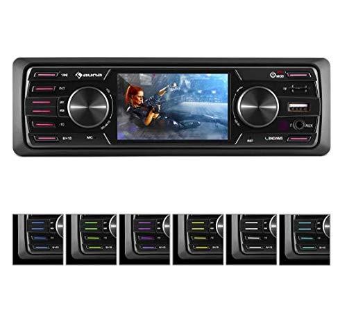 auna MD-550BT - Radio para Coche, Hi-Fi Set, Bluetooth, Pantalla TFT 3', USB, SD MMC, FM Am, MP3 WMA, ID3, AVI MPEG4, 4 x 45 W, Iluminación 7 Colores, Mando, 2 Salidas RCA estéreo de línea, Antracita