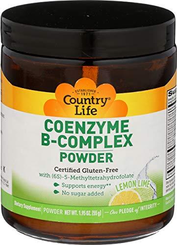 CountryLife Coenzyme B-Complex Energy Powder - Lemon-Lime Flavored, No Sugar Added, Gluten-Free, Non-GMO, Essential B-Vitamins - 30 Servings (1.95 oz) Jar