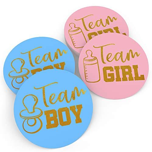 Baby Nest Designs – Gender Reveal Sticker Spiele Team Boy & Team Girl (80 Teile) – Perfect Gender Reveal Party Supplies – Goldfolien-Prägung – handgemalte Kunst in den USA – leicht abziehen