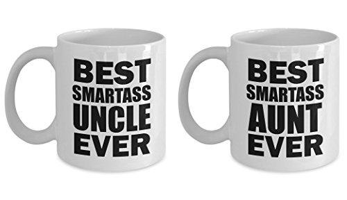 Best Smartass Uncle and Aunt Ever Funny Mug SET OF TWO Gift from Niece Nephew Sister Aunt Family Joke Gag Sarcastic Coffee Cup