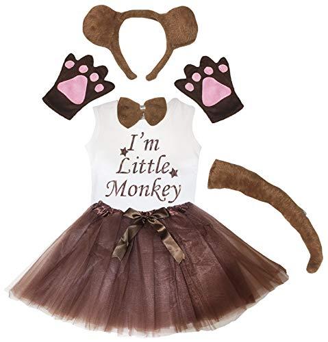 Petitebelle Diadema con guantes de cola de pajarita, falda de camisa de 6 piezas disfraz de niña (6-8 años, mono)